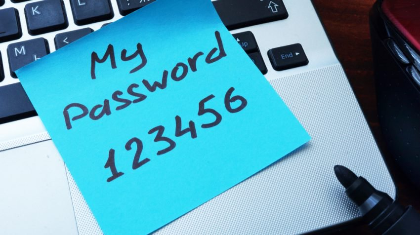 password on sticky note